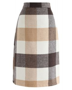 Moon Sound Check Wool-Blend Skirt in Tan