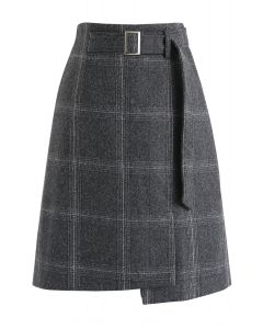 Let's Move On Plaid Wool-Blended Skirt in Smoke