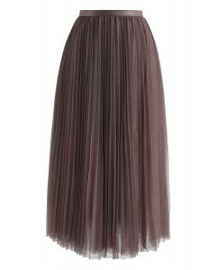 Call out Your Name Pleated Mesh Skirt in Brown