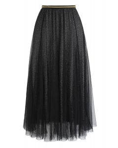 My Secret Weapon Tulle Maxi Skirt in Glitter Black