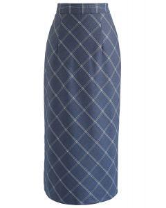 Elegant Edges Grid Pencil Skirt in Blue