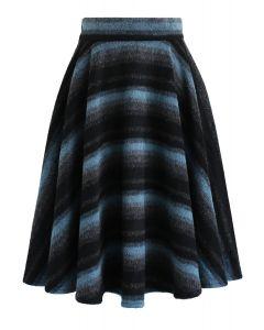 Swirl in Stripe Woolen A-Line Midi Skirt