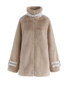 You Don't Say Faux Fur Coat in Tan