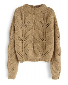 Leaf Me A Message Hand Knit Chunky Sweater