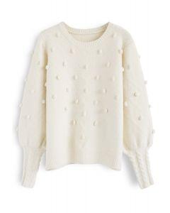 Still in Love Pom-Pom Knit Sweater in Cream