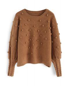 Still in Love Pom-Pom Knit Sweater in Caramel