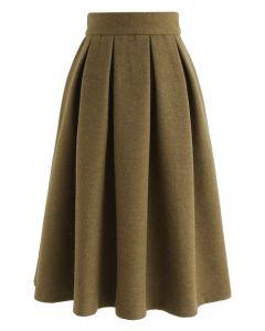 Sweet Distance Wool-Blended Midi Skirt in Ginger