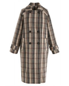 What U See Plaid Double-Breasted Longline Coat