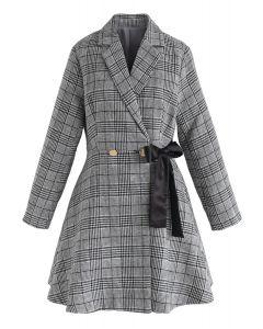 Prepared For A Date Plaid Coat Dress in Grey