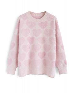 Fuzzy Hearts Knit Sweater in Pink