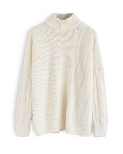 Warm Up The Moment Knit Sweater in White