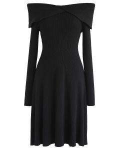 Break of Dawn Off-Shoulder Knit Dress in Black