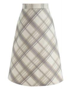 Plaid Reverence Wool-Blend Midi Skirt in Light Tan