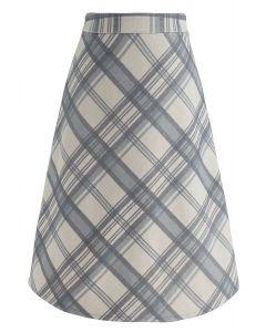 Plaid Reverence Wool-Blend Midi Skirt in Dusty Blue