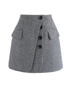 Button Lovers Gingham Bud Skirt in Black
