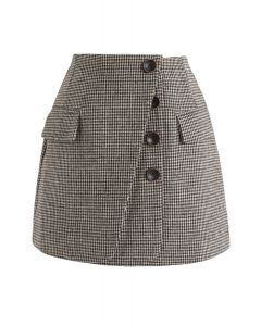 Button Lovers Gingham Bud Skirt in Brown