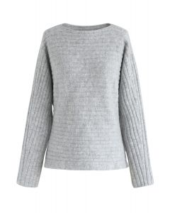 Cut-Out of Sight Ribbed Knit Sweater in Grey