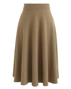 Chill Days Textured Midi Skirt in Tan