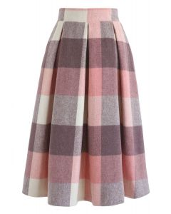 Greatest Embrace Check Wool-Blend Midi Skirt in Pink