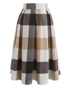 Greatest Embrace Check Wool-Blend Midi Skirt in Light Tan