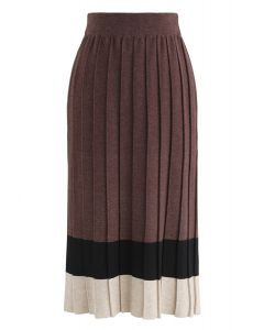 Here to Stay Color Blocking Knit Skirt in Brown
