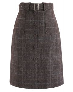 Loving Moments Belted Grid Skirt in Brown