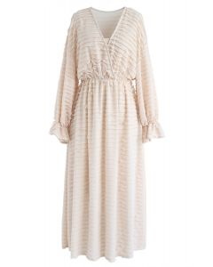 Dreamlike Tiered Ripple Midi Dress in Peach