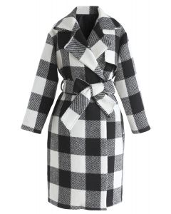 Hit By the Feeling Grid Wool-Blended Coat