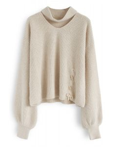 From Me to You Cut Out Knit Sweater in Cream