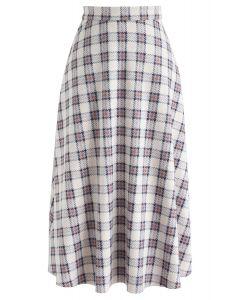 Chic Moves Plaid Suede Midi Skirt