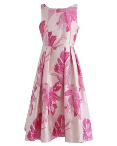 Bauhinia Blossom Jacquard Midi Dress in Pink
