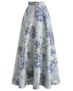 Blove Peony Embroidered Jacquard Maxi Skirt