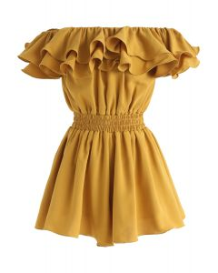 Tiered Ruffle Off-Shoulder Playsuit in Mustard