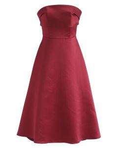 Red Strapless A-Line Prom Dress
