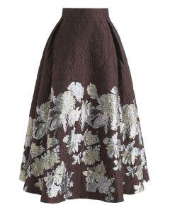 Splendiferous Floral Embossed Jacquard Skirt
