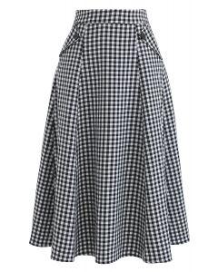 Daytime Romance Gingham A-Line Midi Skirt