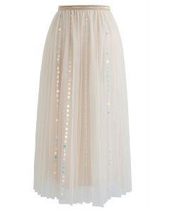 My Fairytale Sequin Tulle Mesh Skirt in Cream