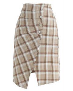 Pretty Chichi Asymmetric Plaid Skirt in Mustard