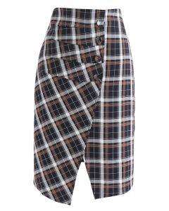 Pretty Chichi Asymmetric Plaid Skirt in Navy