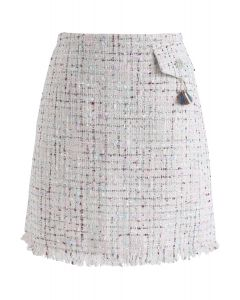 Always Mine Tweed Flap Skirt in Ivory