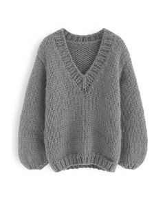 How Deep Is Your Love Hand Knit Chunky Sweater in Grey