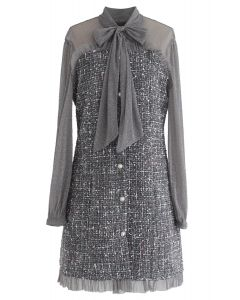 Shimmer Bowknot Mesh Tweed Dress in Grey