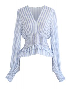 Vintage Spirits Shirred Stripes Top in Blue