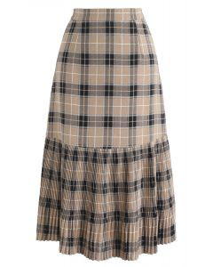 Don't Forget to Pleat Midi Skirt in Plaid