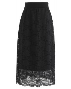 Dreaming Together Lace Knit Skirt in Black