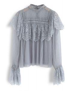 Sweeter Than Ever Pleated Lace Mesh Top in Dusty Blue