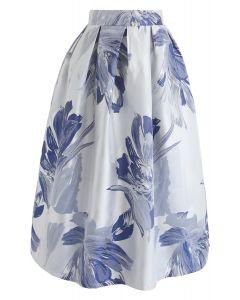 Bauhinia Blossom Jacquard Midi Skirt in Blue