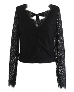 Lace Me Out Backless V-Neck Top in Black