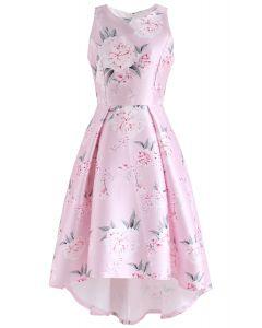 Roseate Blossom Sleeveless Waterfall Dress