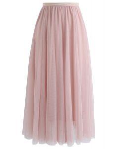 Twinkling Stars Mesh Skirt in Pink